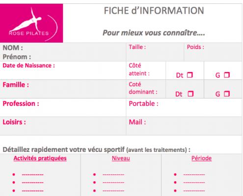 Fiche d'information Rose Pilates